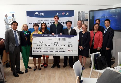 "(From the left to the right) Presentation of the package ""Enjoy the China Open, Visit Beijing"" with M. ..."