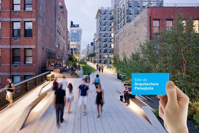 La composicion fotografica incluye una imagen del High Line, Seccion 2, que recibiera un Premio de Honor de la ASLA en 2013 en la Categoria Diseno General. Credito de la foto: Iwan Baan.