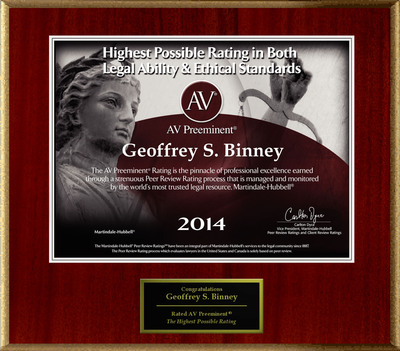 Attorney Geoffrey S. Binney has Achieved the AV Preeminent® Rating - the Highest Possible Rating from Martindale-Hubbell®