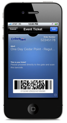 accesso, a leading provider of attractions ticketing, will be one of the first travel industry suppliers to adapt its ticketing platform to support Apple's new Passbook feature when the new iOS6 operating system launches.  Guests visiting Cedar Point and other Cedar Fair parks along with the Columbus Zoo will be able to import digital tickets directly into their Passbook app.  (PRNewsFoto/accesso)