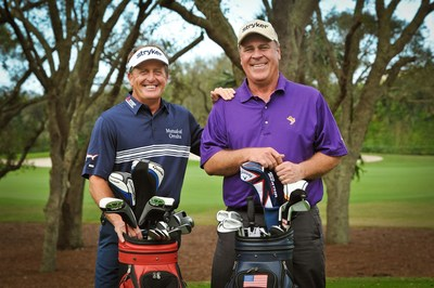 Pictured from left to right are Stryker ambassadors and Champions Tour golfers Fred Funk and Hal Sutton. Funk (total knee replacement) and Sutton (two total hip replacements) have both undergone joint replacement procedures with Stryker products. (PRNewsFoto/Stryker)