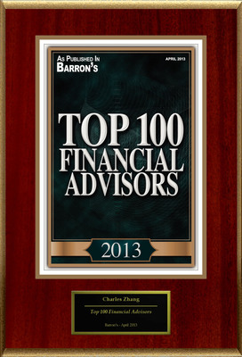 "Charles C. Zhang Selected For ""Top 100 Financial Advisors"".  (PRNewsFoto/American Registry)"
