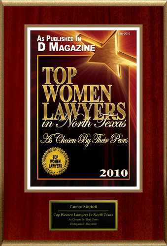 """Carmen Mitchell Selected For """"Top Women Lawyers In North Texas"""".  (PRNewsFoto/American Registry)"""