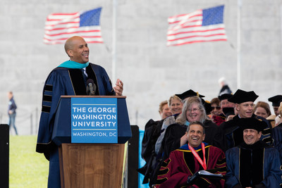 U.S. Senator Cory Booker of New Jersey delivers the George Washington University's commencement address Sunday, May 15 on the National Mall.