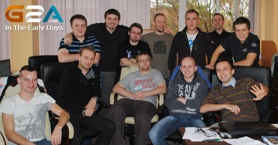 The small team in the early days, 2012. G2A Co-founder, Dawid shown with his arms around his gamer friends. (PRNewsFoto/G2A.com)