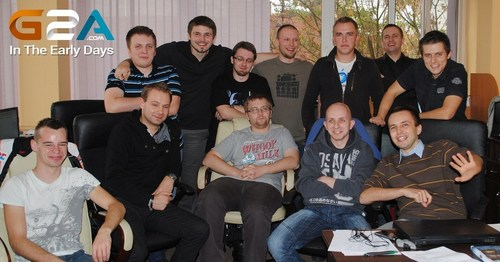 The small team in the early days, 2012. G2A Co-founder, Dawid shown with his arms around his gamer friends. ...