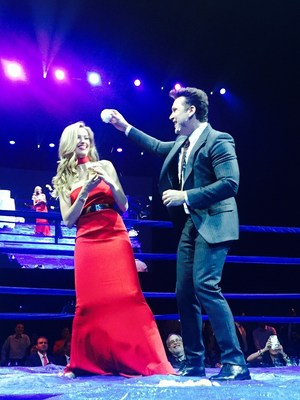 Petra Nemcova and Dane Cook in the ring at the Fight For Education gala 2016 (PRNewsFoto/Happy Hearts Fund)