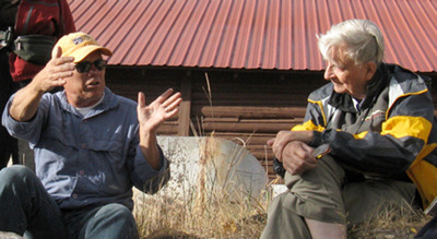 Mike Phillips, Executive Director of the Turner Endangered Species Fund, and Edward O. Wilson, whose life's work inspired the creation of the E.O. Wilson Biodiversity Foundation, discuss conservation of imperiled species at Ted Turner's Flying D Ranch in Montana.   (PRNewsFoto/E.O. Wilson Biodiversity Foundation)