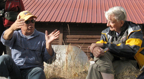 Mike Phillips, Executive Director of the Turner Endangered Species Fund, and Edward O. Wilson, whose life's work inspired the creation of the E.O. Wilson Biodiversity Foundation, discuss conservation of imperiled species at Ted Turner's Flying D Ranch in Montana. (PRNewsFoto/E.O. Wilson Biodiversity Foundation) (PRNewsFoto/E.O. WILSON BIODIVERSITY FDN)