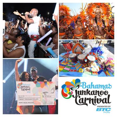 Puntos notables del Carnaval Junkanoo de Bahamas 2016, en sentido horario, desde arriba a la izquierda: el artista Wyclef Jean, ganador del Grammy; miembros de una de las compañía participantes en Road Fever; artesanías en Da Cultural Village; y Fanshawn Taylor, la gran ganadora de la Music Masters Song Competition. Junto con un premio en efectivo de US$ 20,000, el éxito de Fanshawn será grabado y producido por un reconocido productor por cortesía  de Sony Music Entertainment.