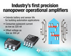 TI introduces the industry's first precision nanopower operational amplifiers