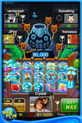 """Forbidden Island"" is a new slots game that adds even more fun and synchronous multiplayer play to the #1 top-grossing social casino app, ""Big Fish Casino"".  This exotic volcano-themed slot machine gives players the social feature they've always wanted - the ability to get bonus chips when another player has a big win.  It is fast and furious slot play trying to make the volcano erupt and rain down with chips for all chosen.  (PRNewsFoto/Big Fish)"