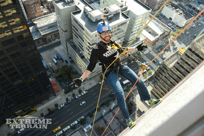 ExtremeTerrain employee Mike Cunningham was voted to rappel the 2 Commerce Square building by fellow employees who said he embodies one of XT's core values: Be Ambitious.