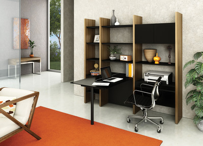 The Semblance Modular System is a fully customizable, complete home solution that meets a multitude of needs by combining shelving and enclosed storage with office workspace and home theater / technology components -- all in one design.  (PRNewsFoto/BDI)