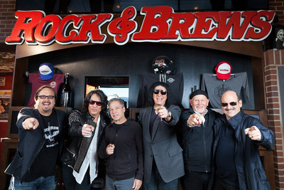 Rock & Brews' Co-Founding Partners welcome SKECHERS President Michael Greenberg to the Board of Directors.  Pictured from left are Michael Zislis, Paul Stanley, Michael Greenberg, Gene Simmons, Dave Furano and Dell Furano.