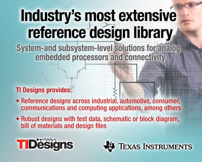Today Texas Instruments introduced TI Designs, the industry's most extensive reference design library, spanning TI's broad portfolio of analog, embedded processor and connectivity products for industrial, automotive, consumer, communications and computing applications, among others. TI Designs are comprehensive, with each including test data, a schematic or block diagram, bill of materials (BOM) and design files that help explain the circuit's function and performance. Support material may also include models, software, code examples, design guides, evaluation modules and more to take system designers even further down the design path.  (PRNewsFoto/Texas Instruments)