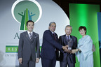 Nobuaki Majima (2nd right), Managing Director of Ricoh Asia Pacific receiving the Asia Responsible Entrepreneurship Awards 2013 from General Sudhir Sharma, witnessed by William Ng (1st left), President of Enterprise Asia.  (PRNewsFoto/Enterprise Asia)