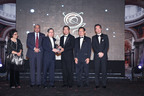 Khoo Kay Peng (third from left) receiving the Lifetime Achievement Award of the Asia Pacific Entrepreneurship Awards 2013 from Dr Fong Chan Onn, Chairman of Enterprise Asia while Enterprise Asia's president, William Ng (far right) witnesses. (PRNewsFoto/Enterprise Asia)