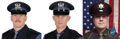 The National Law Enforcement Officers Memorial Fund has selected Trooper Rick Carlson (left) and Trooper Jim Leonard, of the Michigan State Police, and Deputy Justin Holzschu, of the Otsego County (MI) Sheriff's Department, as the recipients of its Officer of the Month Award for March 2016.