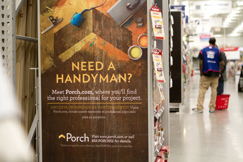 Lowe's professional customers can sign up for a free Porch profile to help increase the exposure of their business to homeowners in need of their specific services. (PRNewsFoto/Lowe's Companies, Inc.)
