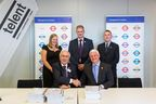 Photo shows telent's CEO Mark Plato and Transport for London's Managing Director Surface Transport, Leon Daniels at the signing ceremony.