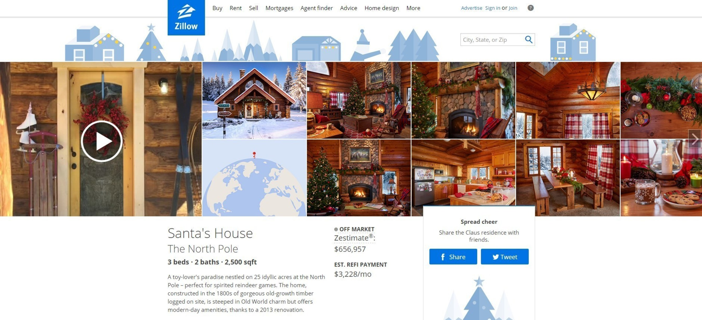 Santa's North Pole Home on Zillow
