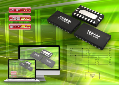 Toshiba's new single-lane, two differential channel SPDT bus switch ICs support PCI Express (PCIe) Gen3 (8Gbps) and achieve wide bandwidth characteristics of 11.5GHz at -3dB.