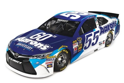 The No. 55 Aaron's Dream Machine driven by rising star Brett Moffitt at Atlanta Motor Speedway on March 1 features the Aaron's 60th Anniversary paint scheme.