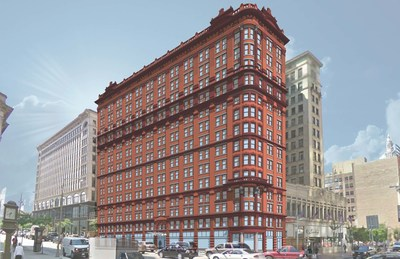 Kimpton Hotels & Restaurants announced today the March 2016 opening of The Schofield Hotel in Cleveland, Ohio's historic Schofield Building. A rendering of the exterior of the hotel reveals the building's restored terra-cotta brick facade, which was covered for more than 40 years by steel. Photo courtesy of Sandvick Architects.