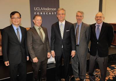 (L to R) UCLA Anderson Forecast Economist William Yu; UCLA Anderson Forecast Senior Economist Jerry Nickelsburg; CBRE Greater Los Angeles-Orange County Region President Lewis C. Horne; UCLA Anderson Forecast Director Ed Leamer; and UCLA Anderson Forecast Senior Economist David Shulman on June 12, 2014. (PRNewsFoto/UCLA Anderson School Management)