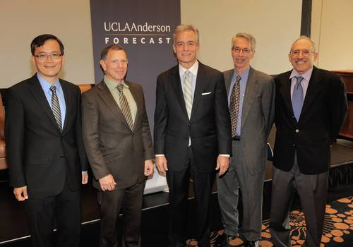 (L to R) UCLA Anderson Forecast Economist William Yu; UCLA Anderson Forecast Senior Economist Jerry ...