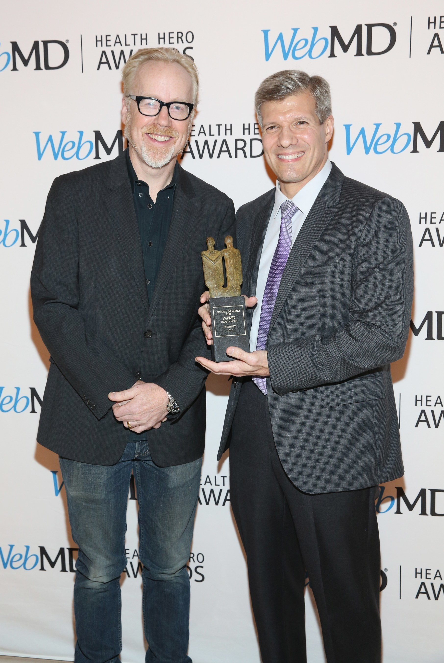 Adam Savage and WebMD Health Hero Scientist Award recipient Ed Damiano, PhD attend the 2016 WebMD Health Heroes Awards on November 3, 2016 in New York City.