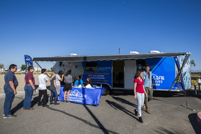 Students checking in for classes at the Learn4Life's Mobile Learning Center