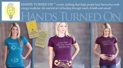 "Hands Turned On(TM) Launches Energy Medicine T-shirts designed by Ann Marie Chiasson M.D. ""Dr. Ann Marie Chiasson is a wonderful energy healer,"" says Dr. Andrew Weil. ""Having her work available through Hands Turned On is a gift. I highly recommend these clothes to anyone who wants to explore self healing."".  (PRNewsFoto/Hands Turned On)"