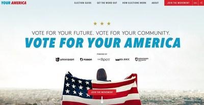 Pagina web de Vota Por Tu America, YourAmerica.com
