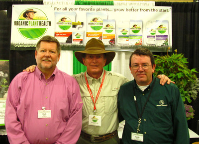 Organic Plant Health founder, Billy Styles (center), with Monroe Hardware Sales Manager, Rick Swaim, and Keith Driscoll, Director of Purchasing, at the Monroe Hardware 2013 Spring Dealers Market in Concord, NC. (PRNewsFoto/Kenactiv Innovations Inc.) (PRNewsFoto/KENACTIV INNOVATIONS INC.)