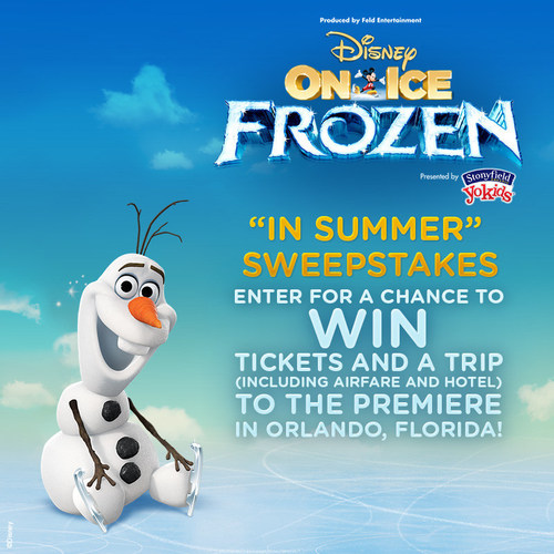 The Disney On Ice presents Frozen Presented by Stonyfield YoKids Organic Yogurt sweepstakes launches July 15, 2014 online at www.FrozenOnIceInSummer.com! Enter for a chance to WIN tickets and a trip (airfare and hotel included) to the premiere of the show in Orlando, Florida September 4, 2014! You can also enter to win exciting merchandise prize packs! (PRNewsFoto/Feld Entertainment, Inc.)