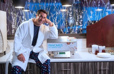 "Rob Riggle, the Holiday Inn Express(R) brand's Creative Director and Breakfast Excellence Honcho, introduces ""Pancakes at Night"" from 8 p.m. - midnight during the month of August at participating Holiday Inn Express hotels in the U.S. and Canada."