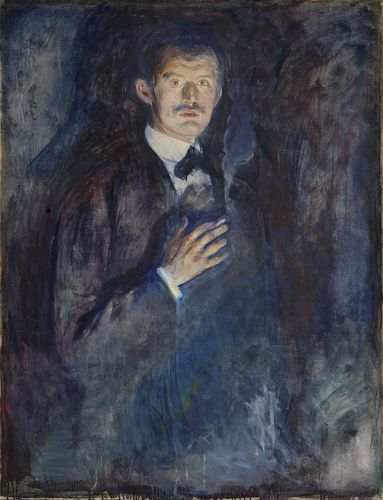 Edvard Munch: Self-Portrait with Cigarette, 1895.Oil on canvas.110.5 x 85.5 cm.National Museum of Art, Architecture and Design, Oslo.NG.M.00470 (Woll M 382)(c) Munch Museum / Munch-Ellingsen Group / BONO, Oslo 2013Photo: (c) Børre Høstland, National Museum (PRNewsFoto/NASJONALMUSEET - NATIONAL MUSEUM)