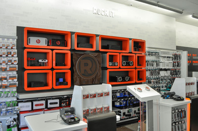 RadioShack's new concept store at 2268 Broadway in New York City includes innovative fixtures such as this Speaker Wall that allows customers to listen to different models of audio equipment using music from their own Bluetooth-enabled devices.  (PRNewsFoto/RadioShack Corporation)