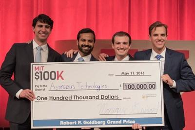 MIT $100K Grand Prize Winners: Astraeus Technologies. Pictured from left to right: Graham Lieberman, Jay Kumar, Alexander Blair, Joseph Azzarelli. Photo credit: Michael Last.