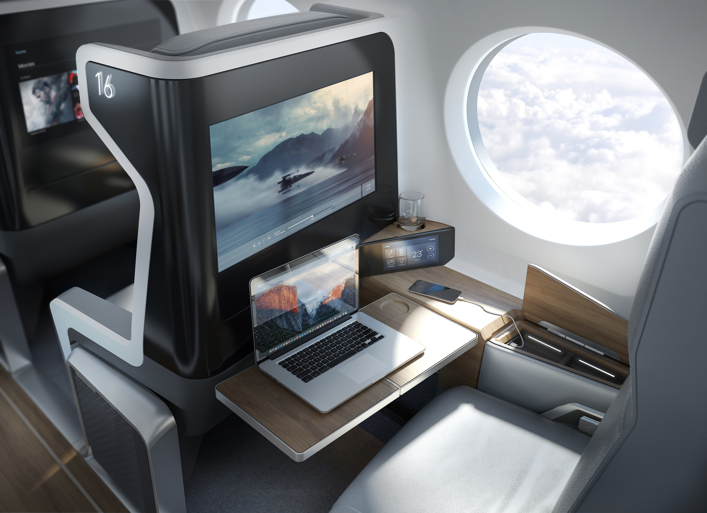 Interior view of the Boom supersonic plane.
