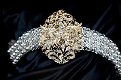 Traditional Peranakan belt with phoenix-motif buckle