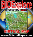 BIOExplore, the 3-D interactive virtual map connecting regions, companies and associations for Life Sciences worldwide. (PRNewsFoto/Silicon Maps, Inc.)