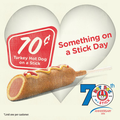 "Hot Dog on a Stick(TM) to ""Stick a Smile on Your Face"" This National Something on a Stick Day with $.70 Original Turkey Dogs"