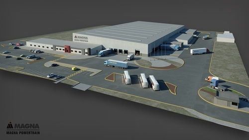 A rendering of Magna Powertrain's third building in Ramos Arizpe, Mexico, a 172,000-square-foot facility which will create jobs for an additional 230 people at full capacity and produce all-wheel drive systems for vehicles made by Volkswagens luxury brand Audi. (PRNewsFoto/Magna International Inc.)