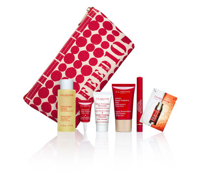 "CLARINS ""Gift with Purpose"" benefiting FEED. Get a Gift, Feed 10 Meals. Help end childhood hunger. Exclusively at Macy's April 10 - 20th.  (PRNewsFoto/Clarins)"