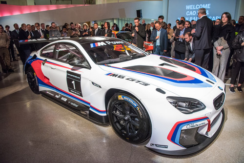 The BMW M6 GT3, the base model for the 18th and 19th BMW Art Car, at the announcement event for the new BMW Art Car artists Cao Fei and John Baldessari at the Guggenheim Museum, New York. (11/2015) (C) BMW AG (PRNewsFoto/BMW Group) (PRNewsFoto/BMW Group)