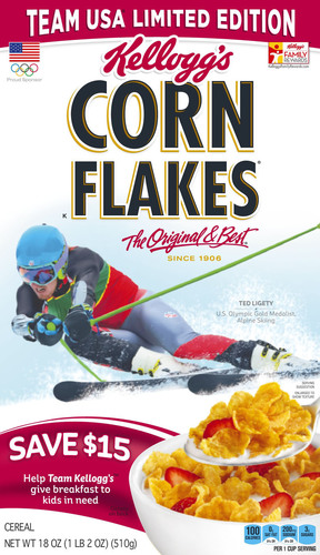 U.S. Olympic gold medalist alpine skier Ted Ligety, a member of Team Kellogg's(TM), will be displayed on limited-edition Team USA Corn Flakes(R) boxes leading up to the Sochi 2014 Olympic Winter Games. (PRNewsFoto/Kellogg Company) (PRNewsFoto/KELLOGG COMPANY)