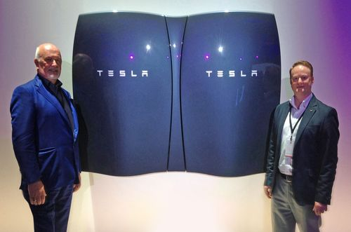 Pictured (left to right) at the recent launch event of the Tesla Powerwall home battery system in California ...